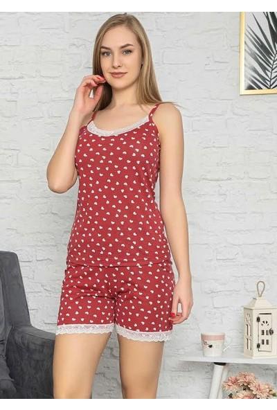 Manolya Kadın Kalp Desenli Şortlu Pijama Takımı