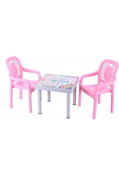 Sağlam Plastik Mandella Rubi Ingilizce Desenli Çocuk Masası 2 Adet Rubi Çocuk Koltuk