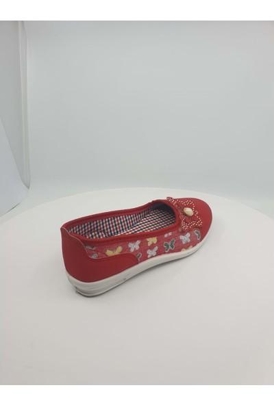 Kebss Kırmızı Kelebek Detaylı Kız Çocuk Babet Ayakkabı