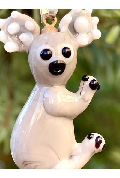 Adamodart Koala Figürlü Murano El Yapımı Cam Kolye