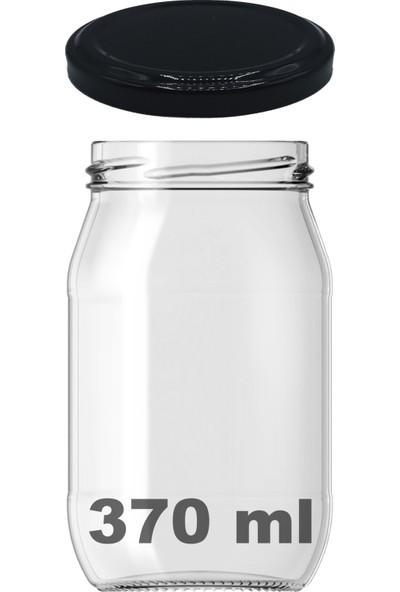 Afracam 370 ml Metal Siyah Kapaklı Şeffaf Cam Kavanoz
