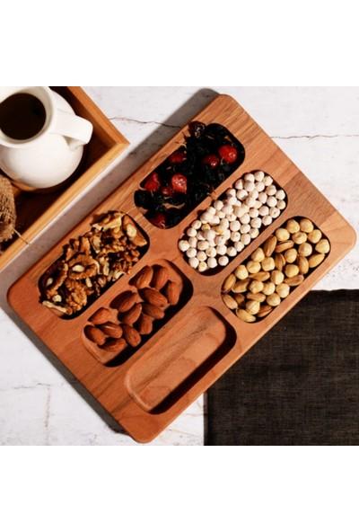 Osso 6 Bölmeli Ahşap Bambu Çerezlik Kahvaltılık Sunum Tahtası Tabağı