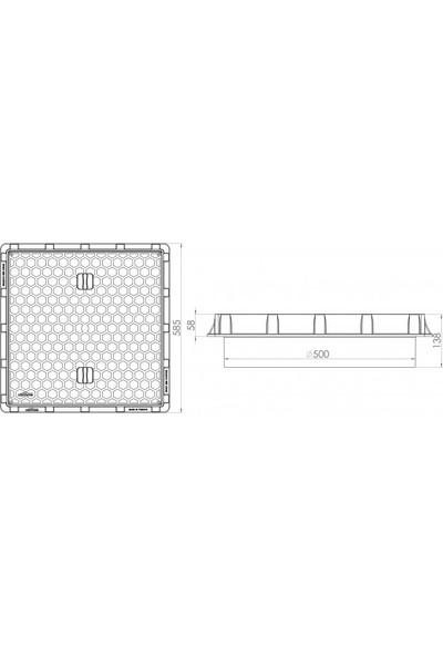 Luxwares Ø 500 mm Düz Plastik Rögar Menhol Kapak ve Çerçeve Koruge Boru Uyumlu
