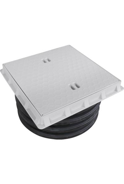 Luxwares Ø 600 mm Düz Plastik Rögar Menhol Kapak ve Çerçeve Koruge Boru Uyumlu