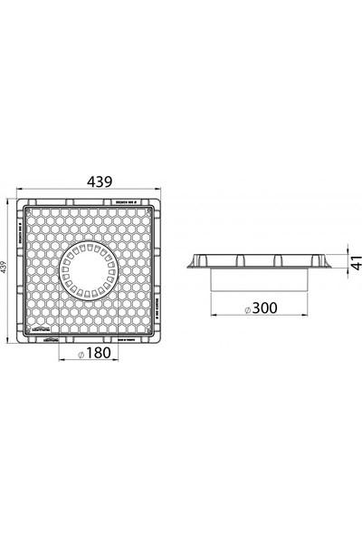 Luxwares Ø 300 mm Süzgeçli Plastik Rögar Menhol Kapak ve Çerçeve Koruge Boru Uyumlu
