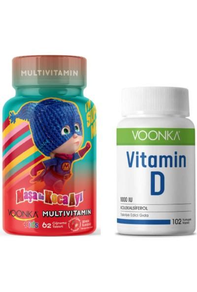 Voonka Multivitamin ve Mineral 62 Çiğneme Tableti + Yetişkinler Için D Vitamini 102 Kapsül