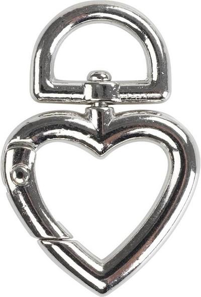 Mir Plastik Çanta Klipsi Kalp 4,5 cm | Gümüş