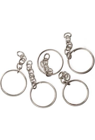 Mir Plastik Zincirli Anahtarlık 5 cm 5'li | Gümüş