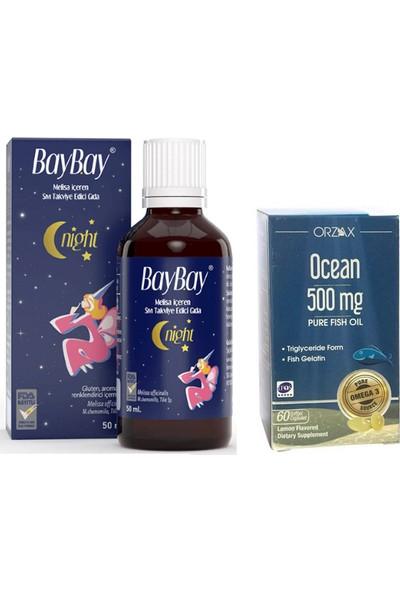 Night Damla 50 ml -Melisa Içeren Takviye Edici Gıda +Çocuklar Için Ocean Balık Yağı 500MG 60 Kapsül