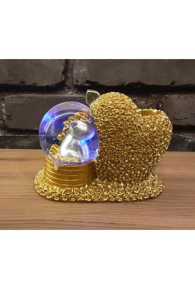 Pınarstore Işıklı Sulu Kar Küreli Dino Kalemlik- Altın Rengi