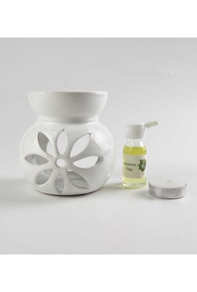 Hediye Fikri Yasemin Yağı ve Lotus Tasarımlı Beyaz Buhurdanlık Seti