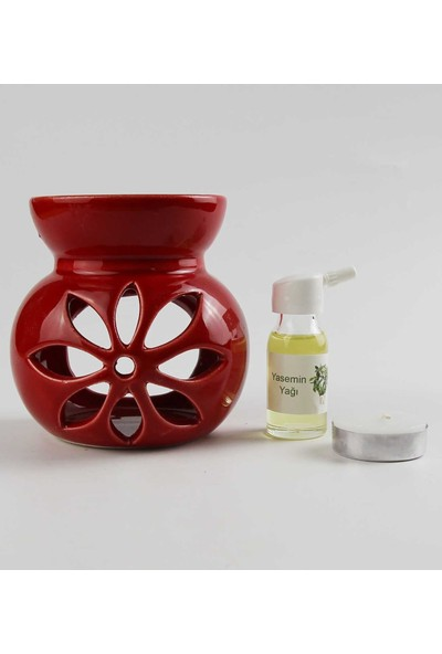 Hediye Fikri Yasemin Yağı ve Lotus Tasarımlı Kırmızı Buhurdanlık Seti