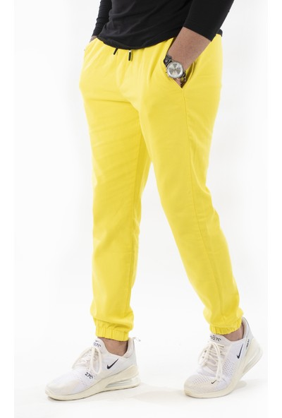Deepsea Limon Sarısı Erkek Beli ve Paçası Lastiklli Bağcıklı Gabardin Pantolon 2100203
