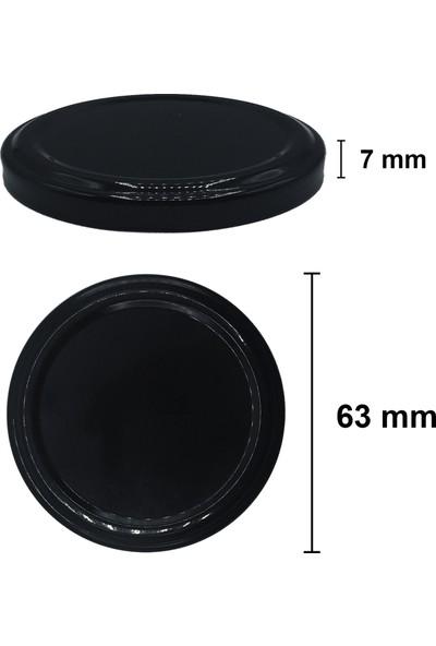 Afracam 370 ml Metal Siyah Kapaklı Şeffaf Cam Kavanoz 8 Adet