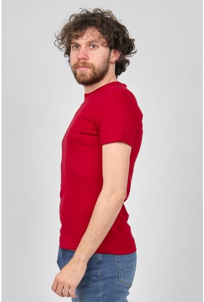 Qwerty Erkek Slim Fit Bisiklet Yaka T-Shirt 54523596 Kırmızı