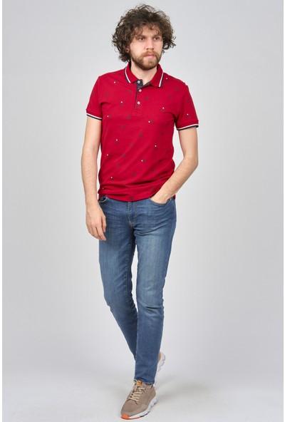 Qwerty Erkek Desenli Polo Yaka T-Shirt 54523555 Kırmızı