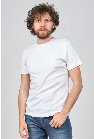 Qwerty Erkek Slim Fit Bisiklet Yaka T-Shirt 54523596 Beyaz