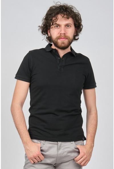 Qwerty Erkek Slim Fit Polo Yaka T-Shirt 5451653 Siyah