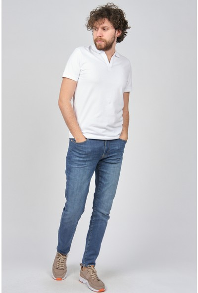 Qwerty Erkek Slim Fit Polo Yaka T-Shirt 5452436 Beyaz