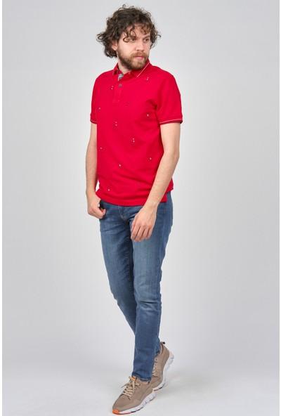 Qwerty Erkek Desenli Slim Fit Polo Yaka T-Shirt 5450823 Kırmızı