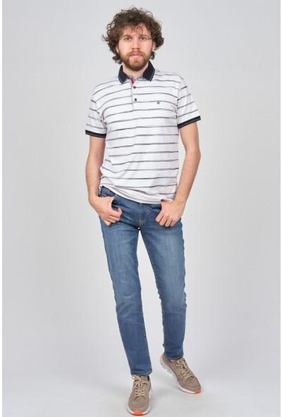 Qwerty Erkek Çizgili Polo Yaka T-Shirt 5452380 Beyaz