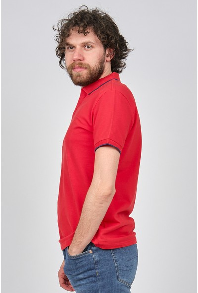 Qwerty Erkek Slim Fit Polo Yaka T-Shirt 5451436 Mercan