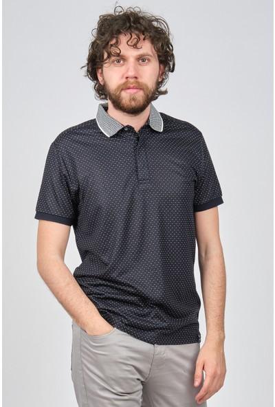 Qwerty Erkek Desenli Slim Fit Polo Yaka T-Shirt 5452335 Koyu Lacivert