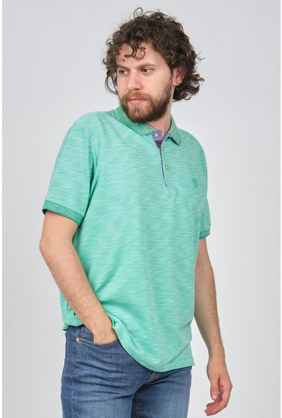 Qwerty Erkek Desenli Slim Fit Polo Yaka T-Shirt 5452187 Su Yeşili