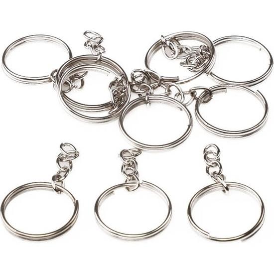 Mir Plastik Zincirli Anahtarlık 5 cm 10 Adet | Gümüş