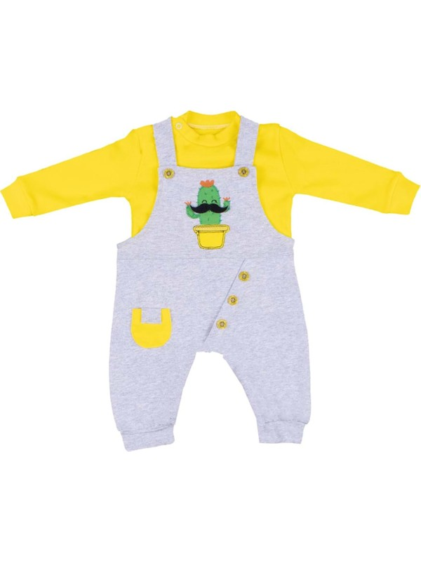 Nono Baby Erkek Bebek Salopet Cepli Kaktüs Nakışlı - Sarı - 3-6 Ay