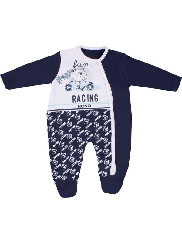 Nono Baby Erkek Bebek Tulum Arabalı Ayıcık Baskılı - Lacivert - 0-3 Ay