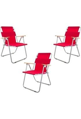 Marketonya 45X60 Çam Katlanır Masa + 3 Adet Kırmızı Kamp Sandalyesi Katlanır Sandalye Piknik Plaj Sandalyesi