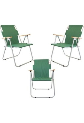 Marketonya 45X60 Çam Katlanır Masa + 3 Adet Yeşil Kamp Sandalyesi Katlanır Sandalye Piknik Plaj Sandalyesi