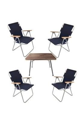 Marketonya 60X80 Çam Katlanır Masa + 4 Adet Lacivert Kamp Sandalyesi Katlanır Sandalye Piknik Plaj Sandalyesi