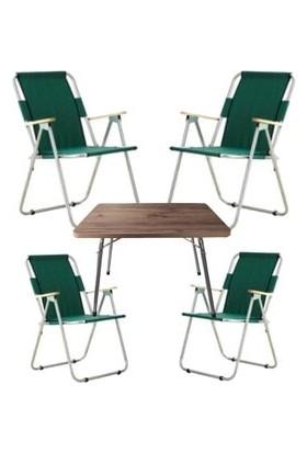 Marketonya 60X80 Çam Katlanır Masa + 4 Adet Yeşil Kamp Sandalyesi Katlanır Sandalye Piknik Plaj Sandalyesi