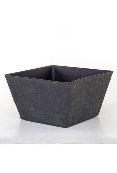 Euro Flora Beton Desen Siyah Saksı 39,5X39,5X23 cm
