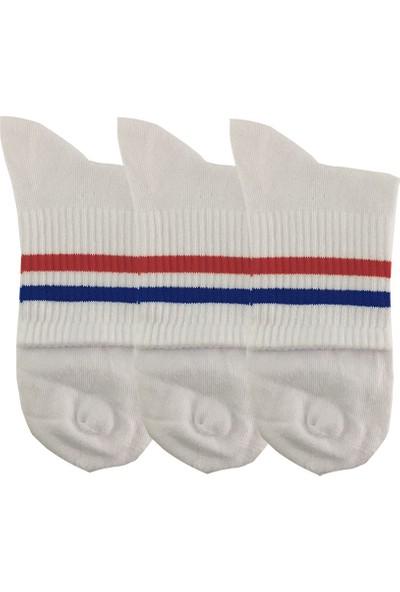 Darkzone Unisex 3'lü Kırmızı Çizgili Beyaz Kısa Tenis Çorapı