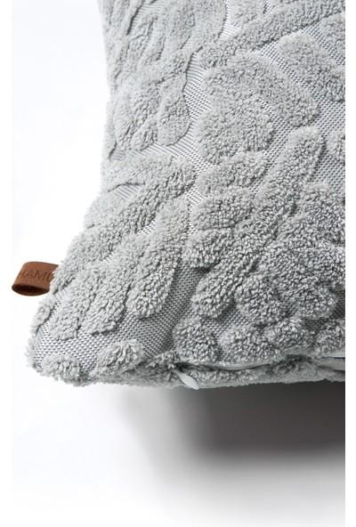Hamur Bohem Özel Tasarım Punch Panç Desen Kare Dekoratif Kırlent Kılıfı Forest Gri