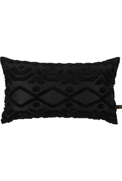 Hamur Bohem Özel Tasarım Punch Panç Desen Dikdörtgen Dekoratif Kırlent Kılıfı Letta Siyah