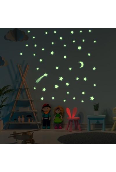 DekorLoft Dekor Loft Kuyruklu Yıldız ve Aydede Gece Parlayan Doğal Fosfor Duvar ve Tavan Sticker