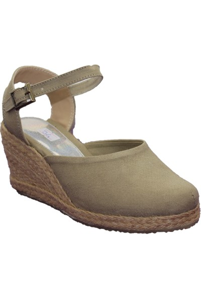 Gökçe Kundura Yazlık Keten Dolgu Topuk Sandalet