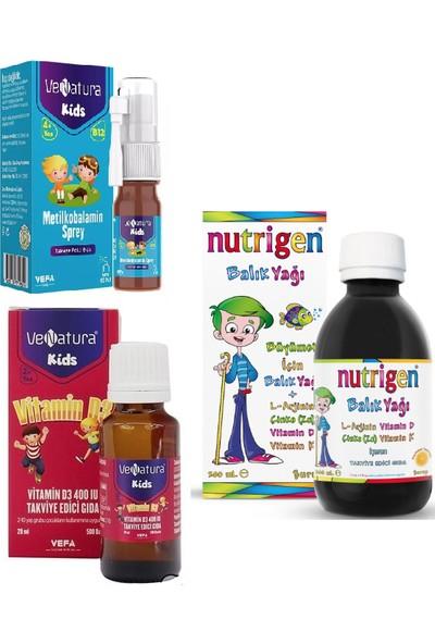 Nutrigen Çocuklar Için 3'lü Set- Balık Yağı Şurubu 200ML+VENATURA B12 Vitamini 5ml Sprey+D3 Vitamin 20ML Damla