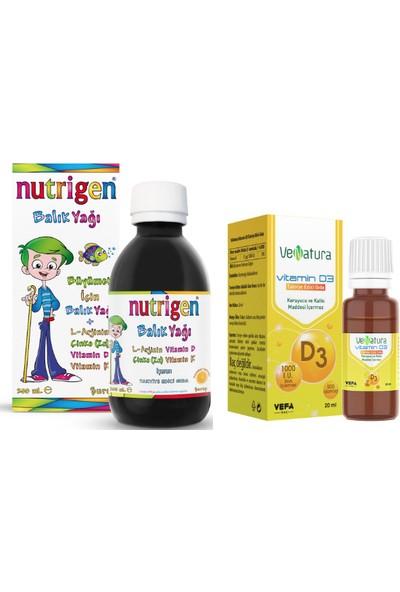 Nutrigen Çocuklar Için Balık Yağı Şurubu 200 ml + Venatura D3 Vitamini 1000 Iu Sprey 20 ml Damla
