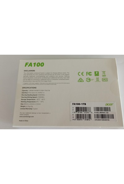Acer FA100 1TB PCIe Gen3 M.2 3300MB-2700MB/s