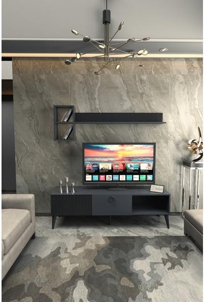 Kolex Azra Tv Ünitesi 160CM Antrasit Renk, Siyah Ayaklı