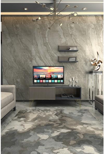 Kolex Azra Tv Ünitesi 120CM Antrasit Renk, Gold Metal Ayaklı
