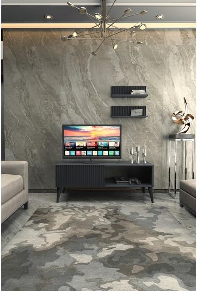 Kolex Azra Tv Ünitesi 120CM Antrasit Renk, Siyah Ayaklı