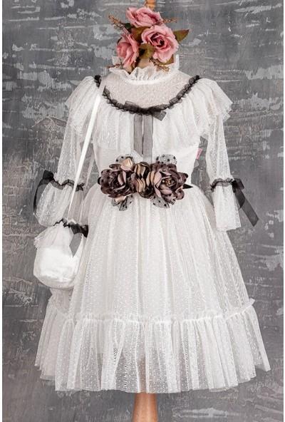 Tivido Çantalı Dantel Kız Çocuk Elbisesi