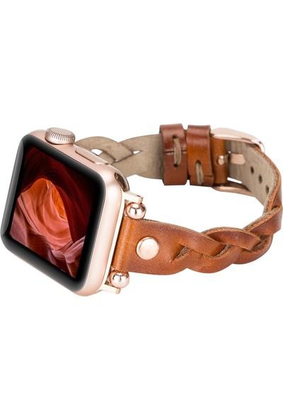 PLM Apple Watch Deri Kordon Wanda 38-40MM Ferro Rose Gold Trok RST2EF Taba