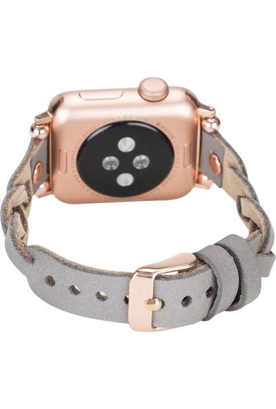 PLM Apple Watch Deri Kordon Wanda 38-40MM Ferro Rose Gold Trok Rst9 Gri